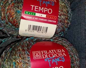 Filatura Di Crosa Fancy Tempo Yarn, color 34, lot 87020 2 full skeins cotton acrylic polymid blend