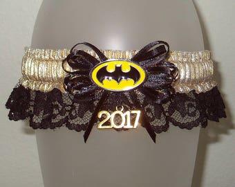 Batman Black Lace Champagne Gold 2017 Prom Garter Sparkle Metallic Charm Shimmer Glitz Glam Superhero Wedding Joker Catwoman Fun Unique