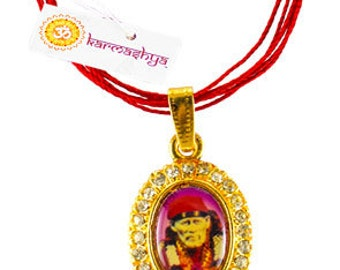 Ohm Sairam Sai Baba Sai Ram Rhinestone Bling Pendant Mala Shirdi Necklace Chain PN0091