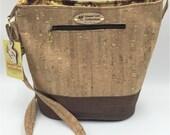 Large Handbag, Shoulder Bag, Bucket Bag, Purse in Brown & Light Brown Cork Leather with Gold Flecks - Made in Maui