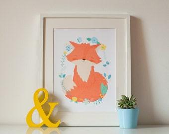 Baby Fox Nursery Print - Giclee Art Illustration