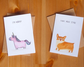 Funny sarcastic 5 animals greeting card pack holiday gift - Set of 5 - Romantic sexy kinky postcard edition