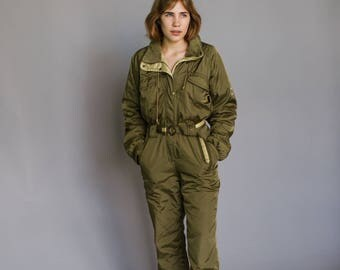Vintage Olive Ski Suit
