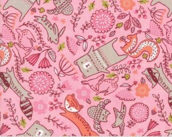 Forest Furries on Pink cotton fabric,  Just Another Walk in the Woods by Moda