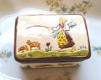 Majolica Ring Dish~Girl Tending  Sheep~Hand painted Majolica ITALY 54~Vintage Ring Trinket Dish~Mid Century Keepsake box~by JewelsandMetals