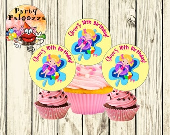 Printable Personaized  Birthday pool party cupcake toppers