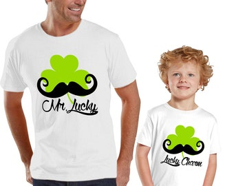 Mr Lucky Daddy and Me WHITE Shirts Set