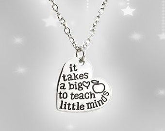 It takes a big heart to teach little minds - teachers necklace - gift for teacher - Christmas gift for teacher - teacher gift - holiday gift