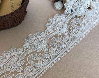 Black/White Venice Lace Trim Retro Scalloped Lace For Bridal Sashes,Wedding Dresses 3 Inches Wide