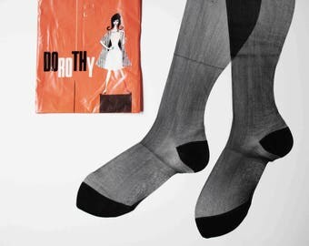 Vintage Elegant Black Pantyhose Stockings Lingerie , Vintage Stockings New, NOS, Hosiery Stockings, New Old Stock 60s 70s Micro mesh