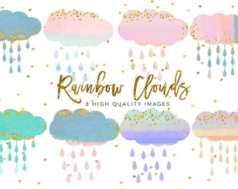 baby clouds clip art, Watercolor fluffy clouds and rain drops, digital papers, magical clipart, nursery art, children decor, whimsical