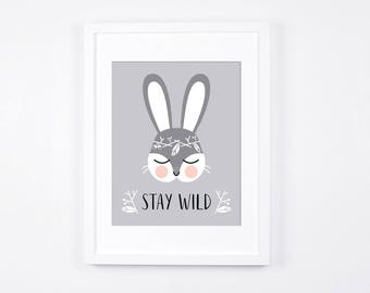Stay Wild Bunny Nursery Printable Art, Grey and White Nursery Print, Woodland Crown Bunny, Scandinavian Nursery, Rabbit Instant Download Art