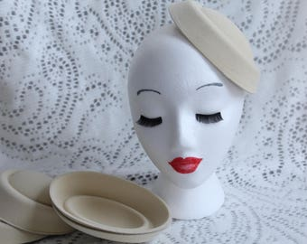 Cream Oval Stewardess Hat Base / Hat Base / Felt Hat Base / Fascinator Base / DIY Fascinator