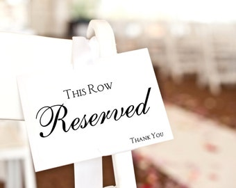 Reserved Sign, this row reserved card, wedding ceremony decor, reserved seating wedding signage