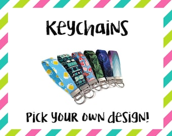 Key Fob, Fabric Keychain,  Key Chain Wristlet, Fashion Keychain, Key Chain,