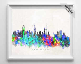 Abu Dhabi Skyline Print, UAE, Abu Dhabi Poster, Cityscape, Watercolor Painting, City Poster, Wall Art, Bed Room Decor, Christmas Gift
