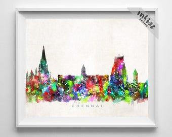 Chennai Skyline Print, India Poster, Chennai Wall Art, Cityscape, Watercolor Painting, Giclee Art, Home Decor, Christmas Gift