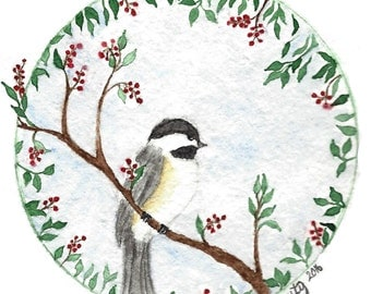 Bird and Holly Christmas Card, Watercolor Chickadee Note Card, Water Color Holiday Card, Winter Greeting Card