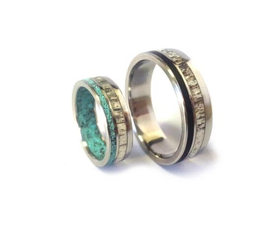Titanium Wedding Ring Set With Deer Antler And