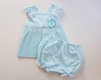 Vintage rose bud baby two piece