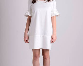 White ruffle sleeve cotton spring/summer dress