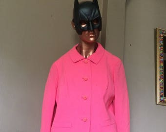 Vintage 1960s Mod Hot Pink Blazer, Mad Men Pink Stewardess Jacket