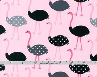 Pink & Black Ostrich, Ann Kelle, Robert Kaufman 16486 10 Pink, Urban Zoologie, Black and Gray Ostrich Quilt Fabric, Dots, Cotton