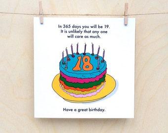 Funny 18th birthday card, funny 18, rude 18th, 18th birthday card