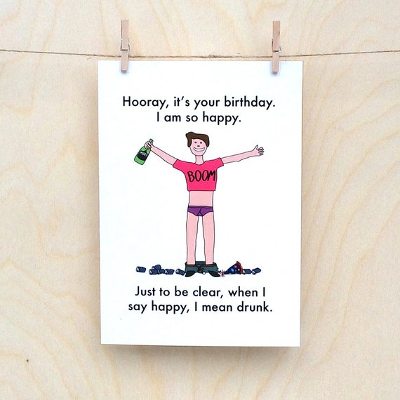 So Happy ( Drunk ) Card, Funny Birthday card, funny love card, funny card