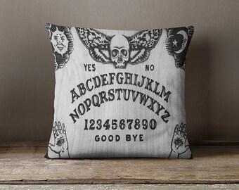Ouija Board -  Throw Pillow - Art Pillow -  Art home decor - Black and White - Dark arts -  Pyrography art -  TimberleeEU