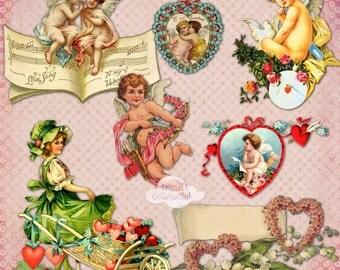 Vintage Valentine Clipart Clip Art Digital Images for Scrapbooking Decoupage Paper Journaling Card Making Digital Collage Sheet