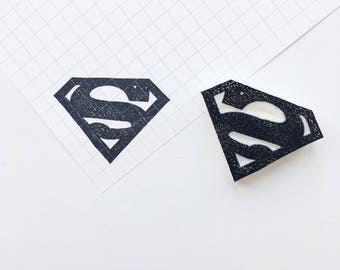 Superman Logo. superman logo. superman. Rubber stamp. Hand carved stamp. Mounted