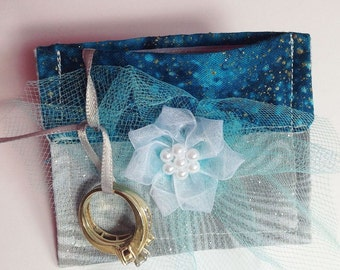 Gray & Teal Ring Bearer Wedding Pouch for Dog or Cat