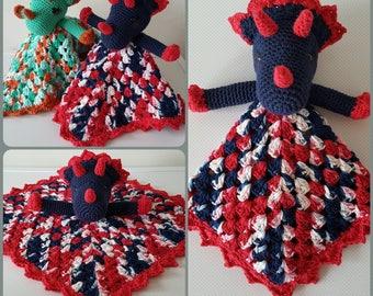 TRICERATOPS SNUGGLE BLANKET - Dinosaur Amigurumi Crochet Pattern - Pdf Instant download