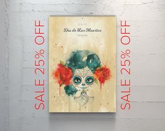 SALE 25% OFF 2017 Dia de Los Muertos Wall Calendar (see details in description)