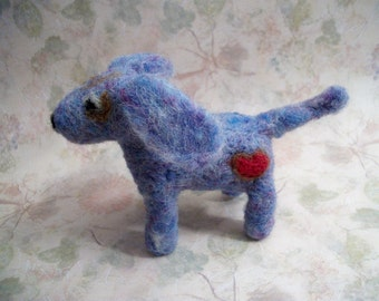 Blue Dachshund, Plush Dog, Handmade Dog, Mini Dachshund, FeltWithAHeart