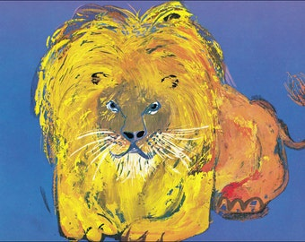 l for lion 60's mid century children's illustration retro nursery decor Brian Wildsmith 7.25x9.75 inches