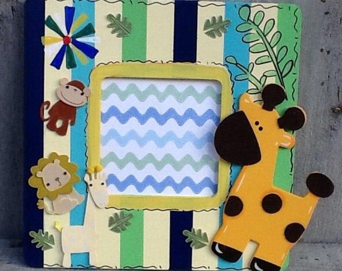 Baby announcement, Nursery frame, jungle frame, newborn frame, baby announcement frame, baby shower gift, baptism gift, newborn gift