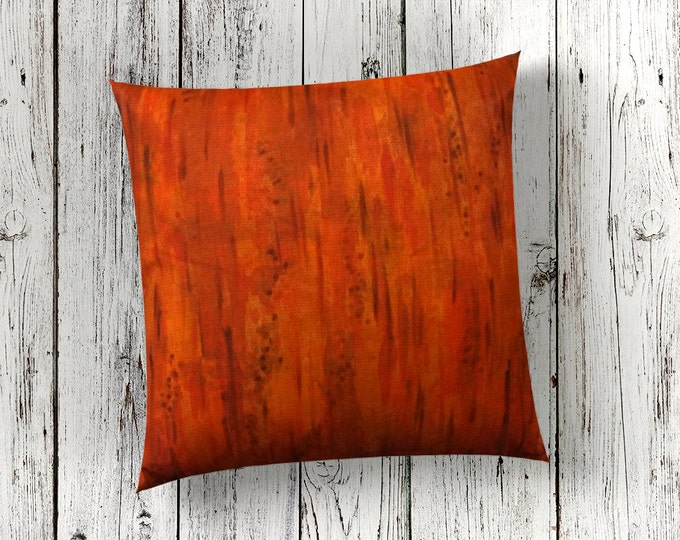 Orange Fall Pillow Cover 18x18-Watercolor Silk Pillow Cover-Fall Decor-Gift