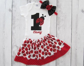 Ladybug First Birthday Outfit - onesie and skirt, girl birthday outfit, red black, ladybug headband, ladybug birthday