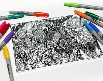 Mandala coloring, drawing #8997 printed on cardboard, coloring of relaxation, dragon