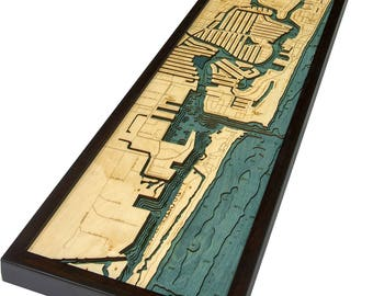 Ft. Lauderdale Wood Carved Topographic Depth Map