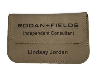 Rodan and Fields Business Card Holder Personalized Leather Brown