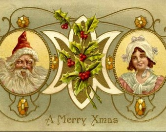 1910 Santa Claus & Girl Christmas Greetings Postcard