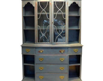 SALE! Org 1295.00 Saginaw Fine Furniture Mahogany Hutch / Secretary /Cupboard Newly Painted in Gray Distress