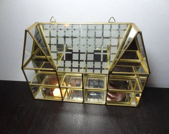 Vintage Glass and Brass Mirrored House Shaped Miniature Knick Knack Display Wall Shelf or Curio - Hollywood Regency/Mid Century Modern