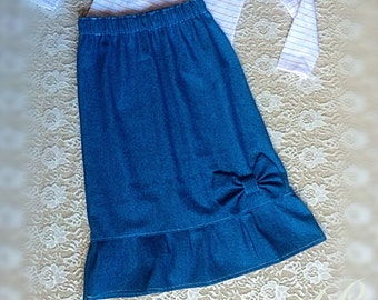 GIRLS MODEST DENIM skirt girls skirt long