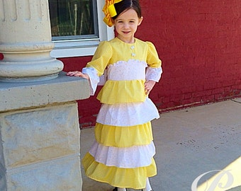 GIRLS YELLOW GINGHAM dress yellow easter dress modest apostolic clothing