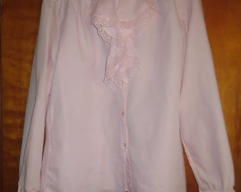 Ann Charbrol. Light Pink Ruffled Button down Blouse. Size 16. 100% Polyester. 1970's. Tags still on!