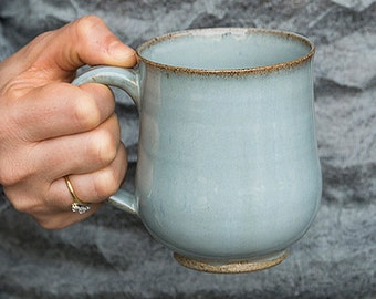 Light Blue Pottery Mugs / Stoneware Coffee Mugs / Ceramic Handmade Mug / 10oz Mug / Made to Order